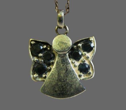 Vintage Black Glass Angel Pendant, sterling silver