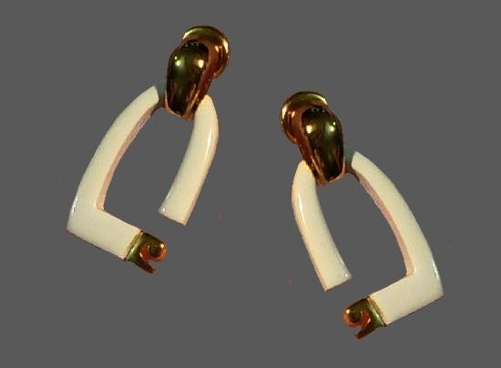 White enamel 14 K gold plated logo earrings