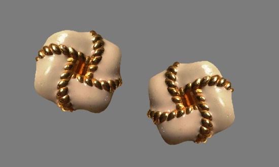White enamel gold tone clip on earrings