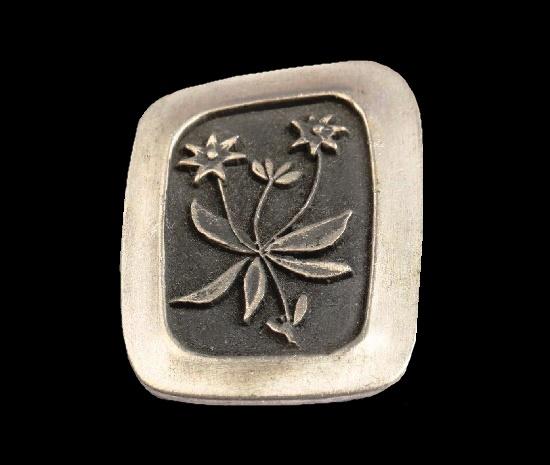 Wildflowers pewter brooch. 1950s