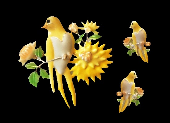 Yellow bird enameled pierced earrings and brooch pendant