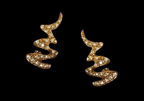Zigzag snake shaped gold tone rhinestones earrings