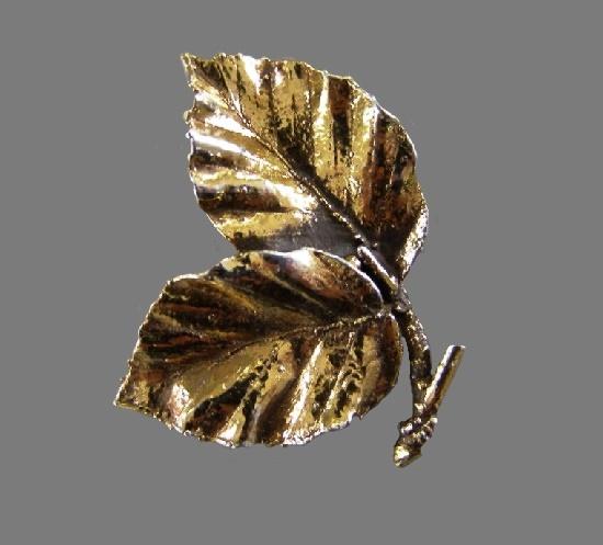 Gold plated sterling silver double leaf vintage brooch