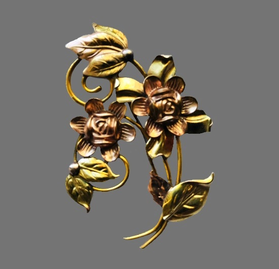 12 K gold filled flower brooch