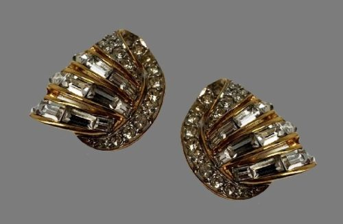 1980s gold tone, Swarovski crystals clip on earrings