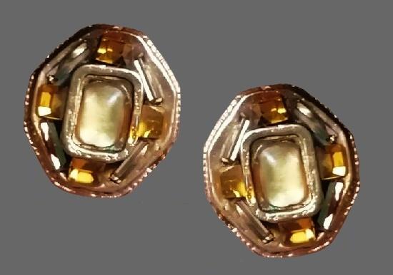 1980s gold tone, art glass, resin clip on earrings. 3 cm