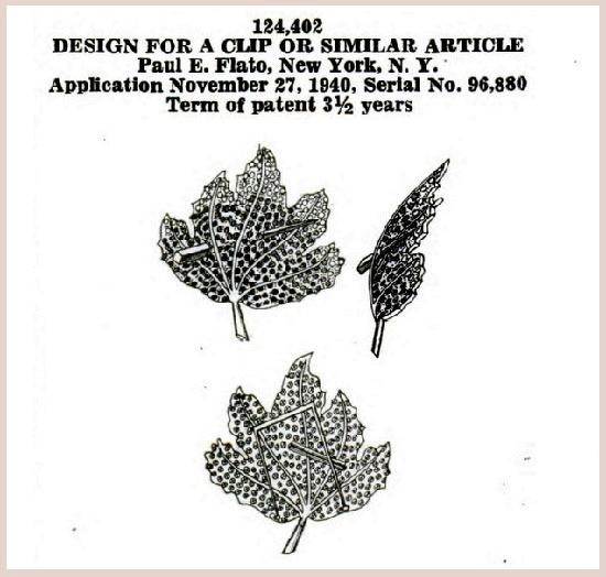 22 October 1940 patent for leaf brooch design