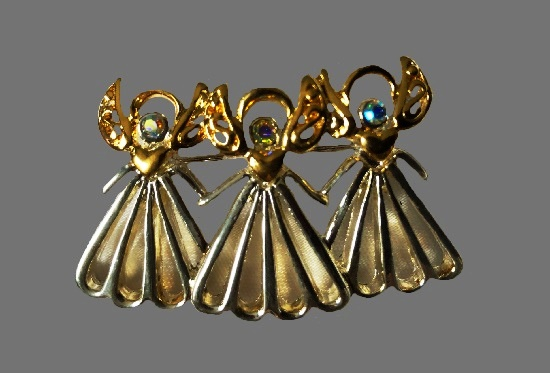 3 Angels gold tone, art glass, rhinestones brooch pin