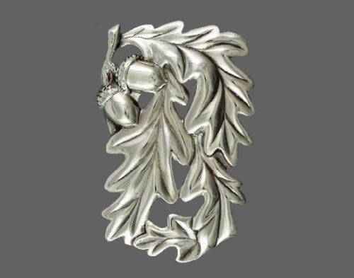 Acorn oak leaf sterling silver brooch
