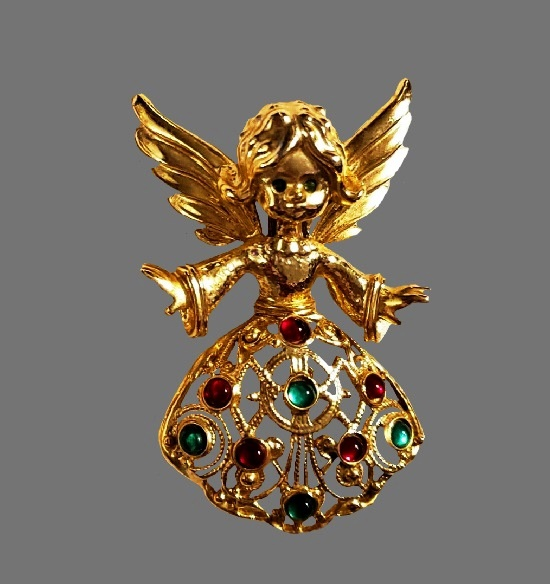 Angel girl Christmas Brooch Pin. Gold plated metal alloy, rhinestones