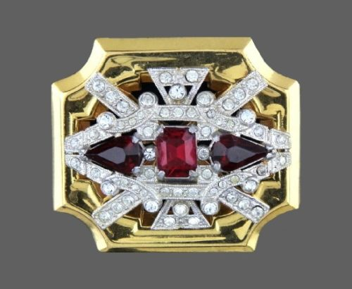 Antique ruby red and clear rhinestones gold tone brooch. 1930's