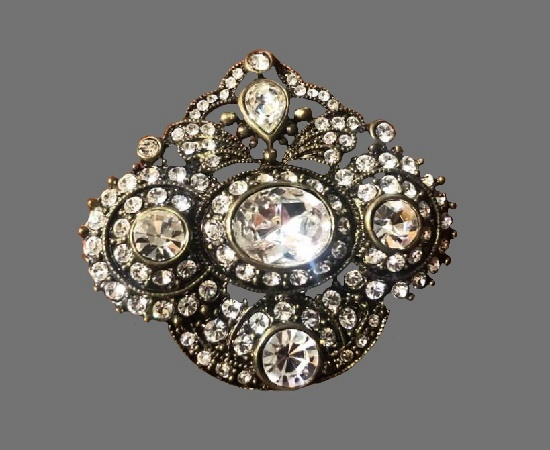 Antiqued gold tone clear rhinestones brooch