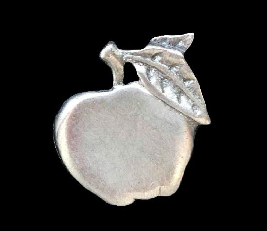 Apple pin. Pewter. 2.5 cm. 1990s