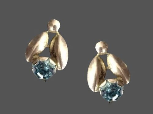 Aquamarine stone sterling silver clip on earrings