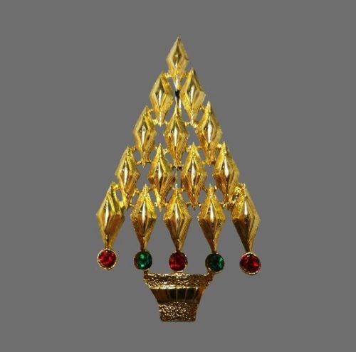 Art Deco Christmas tree brooch. Gold tone, rhinestones