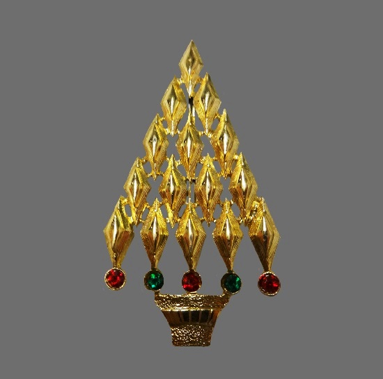 Art Deco Christmas tree brooch. Gold tone, rhinestones
