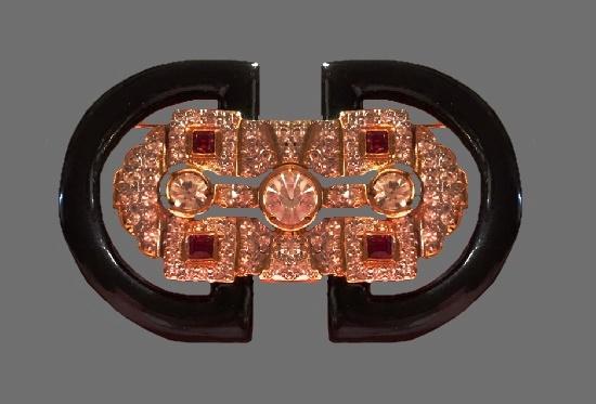 Art Deco black enamel gold tone rhinestones brooch. 1980s