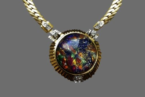 Art glass gold plated rhinestones necklace. 1980s