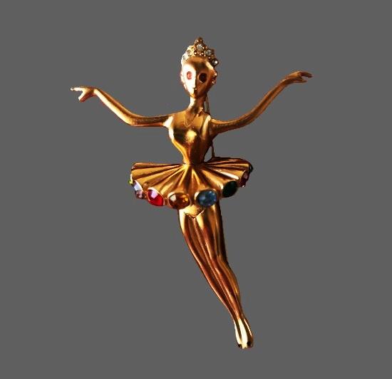 Ballerina brooch. Gold tone metal alloy, multicolor rhinestones. 1990s