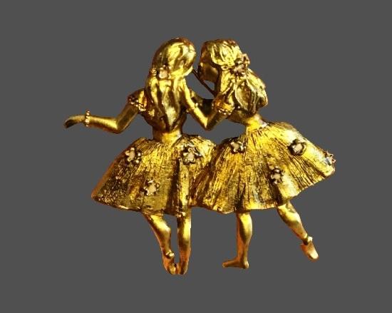 Ballet dancers girlfriends gold tone rhinestones brooch