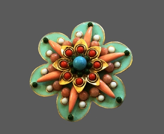 Bead layered multicolor flower brooch. 1990s
