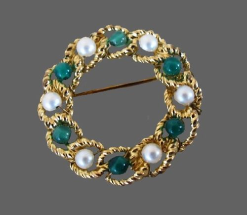 Bead wreath pin. 12 K gold filled, faux pearls, glass