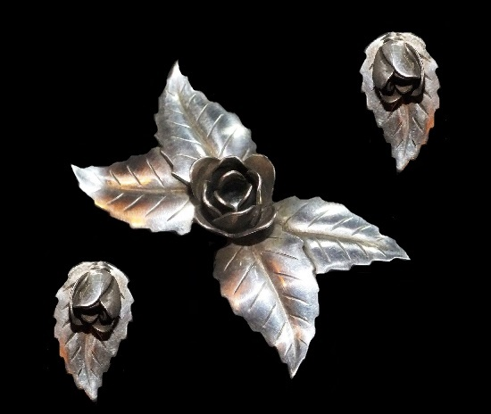 Beautiful rose and leaf set of brooch and clip on earrings. Sterling silver