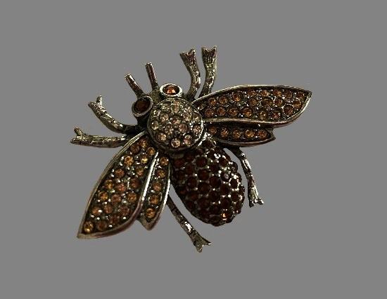 Bee silver tone metal rhinestones brooch