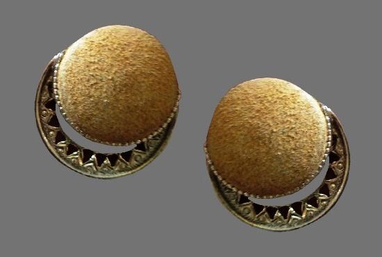 Beige plastic gold tone clip on earrings
