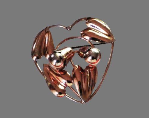 Bell flower sterling silver brooch pin. 1940s