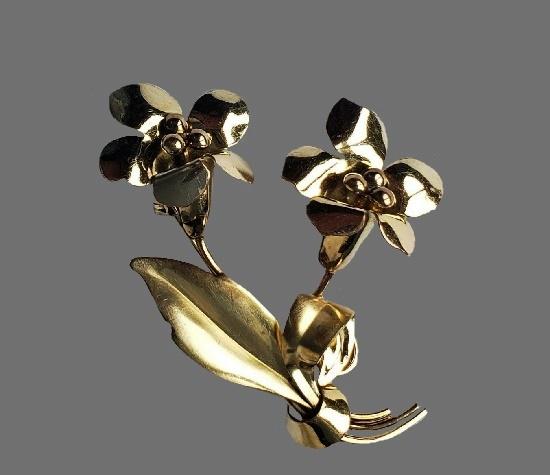 Bell flowers brooch. 12 K gold filled