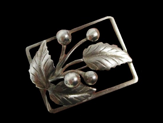 Berry and leaf sterling silver brooch