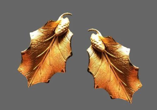 Birch leaf clip on earrings. 12 K gold filled