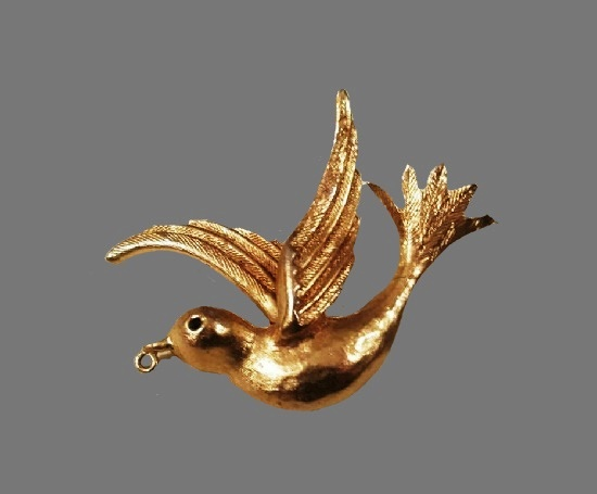 Bird brooch pendant of gold tone