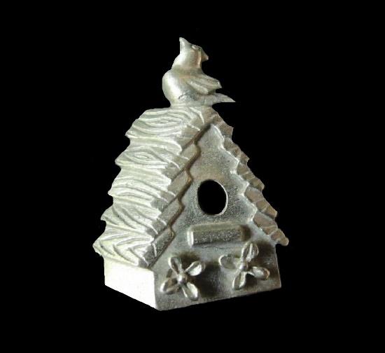 Bird house pewter pin