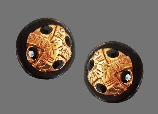 Black enamel resin art glass gold plated round shaped earrings