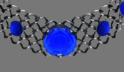 Blue art glass sterling silver choker