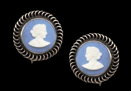 Blue cameo silver earrings