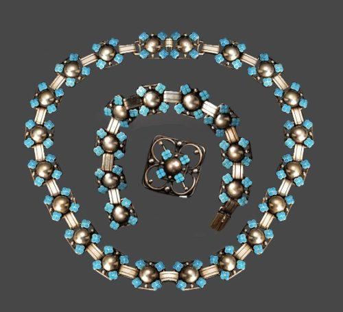Blue flower bracelet, brooch and necklace. Sterling silver, enamel