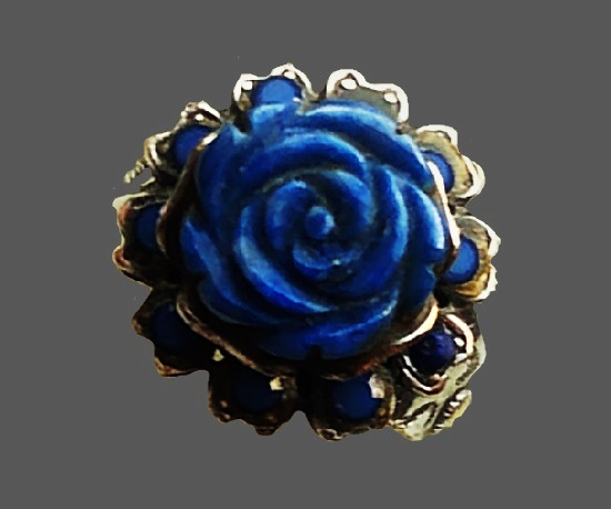 Blue rose ring. Brass and silver alloy, lapis cabochon, crystals. 1990s