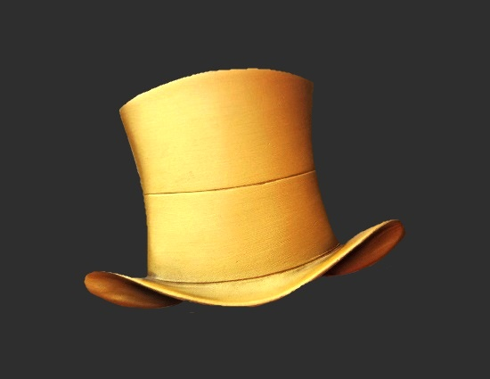 Bowler hat gold tone pin