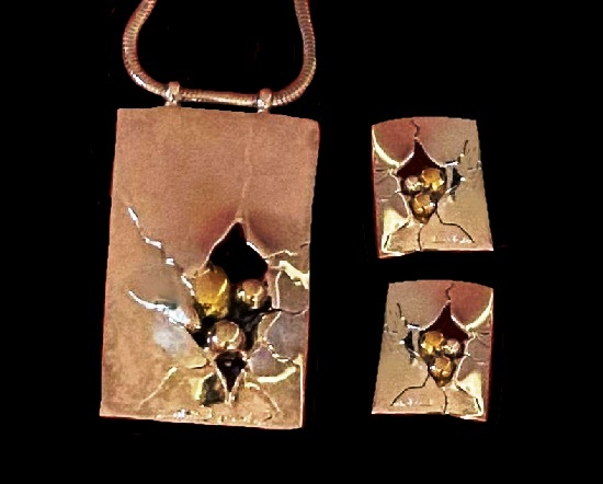 Broken mirror silver and gold tone pendant and earrings