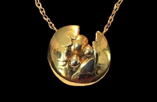 Brutalist brass brooch pendant. 1980s
