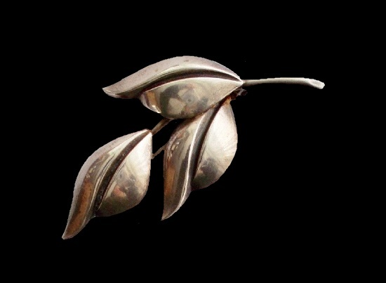 Budding Leaf sterling silver pin