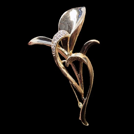 Jones New York vintage costume jewelry. Calla flower beautiful gold tone rhinestone vintage brooch