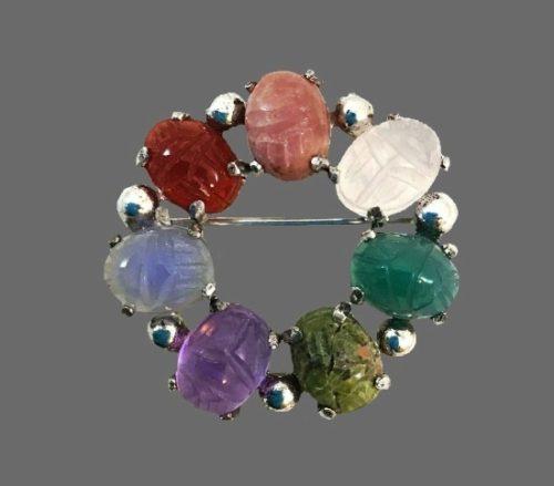 Carved gemstones wreath brooch. Sterling silver