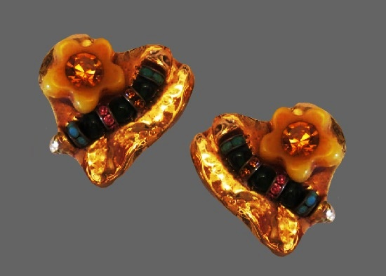 Caterpillar on shiny heart clip on earrings. Gold Finish, resin flower, pink, amber, turquoise, and green glass stone and beads, rhinestones