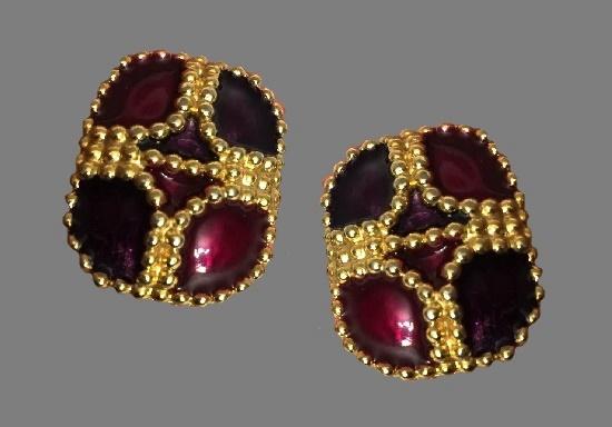 Cherry red enamel gold tone clip on earrings