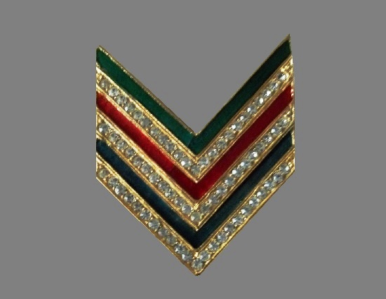 Chevron shaped pin. Gold tone alloy, enamel rhinestones