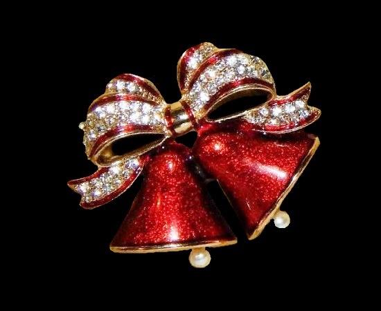 Christmas bells bow brooch. Gold tone metal, enamel, rhinestones, faux pearls